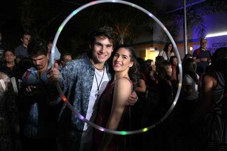 O casal Lívian Aragão e Nicolas Prattes celebra nova fase de Malhação com festa no Projac, no Rio, nesta terça-feira (4)