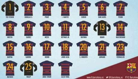 cfbb7965d3 Barcelona divulga numeração