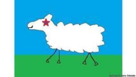 Uma das sugestões é uma bandeira ilustrada pela ovelha