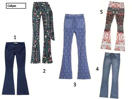 1. Calça flare em jeans azul-escura da Hering: R$ 149,99. Informações:  0800-473114 / 2. Calça flare estampada com flores e laço na lateral da C&A: R$ 129,99. Informações: (11) 5504-6680 / 3. Calça flare com estampas sobre fundo azul da Lov.it: R$ 129,90. Informações: www.welovit.com.br / 4. Calça jeans Dzarm com a boca levemente mais larga: R$ 269,99. Informações: 0800-473114 / 5. Calça flare com mix de estampas, da Dzarm: R$ 269,99. Informações: 0800-473114