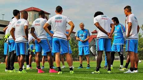 El grupo de jugadores de la Selección Colombia en entrenamiento bajo el mando de José Pékerman.