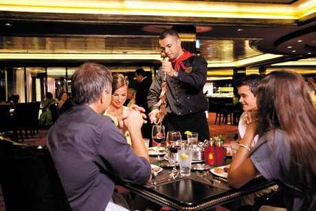 Entre os destaques dos seus navios estão as diversas opções de restaurantes