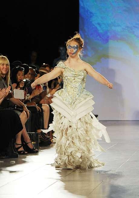 Madeline Stuart durante seu desfile na Semana de Moda de Nova York para a grife Hendrick Vermeulen