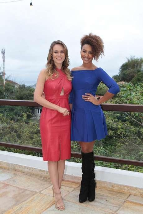 Mariana Ximenes e Sheron Menezzes na festa da revista Glamour: atrizes estampam a capa de setembro ao lado de Paolla Oliveira