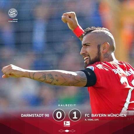 Vidal comemora após marcar primeiro gol do Bayern diante do Darmstadt
