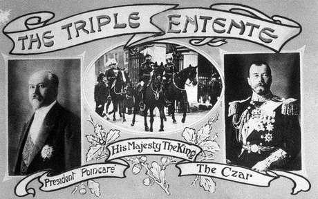 República Francesa, Império Britânico e Império Russo formavam a Tríplice Entente