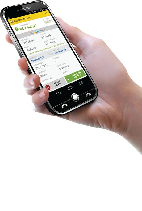 O aplicativo localiza e avisa ao caminhoneiro quais são os fretes disponíveis no local em que ele está