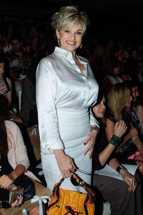 Andréa optou por um look nude para ir ao SPFW