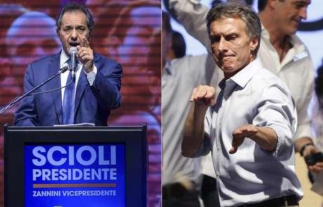Candidato do governo, Daniel Scioli (à esq.) disputará segundo turno de eleições presidenciais argentinas com Mauricio Macri, da oposição