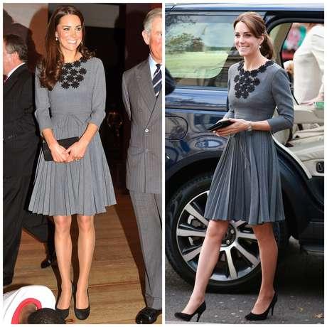 A princesa, em 2012 e 2015, respectivamente, usando vestido da estilista Orla Kiely