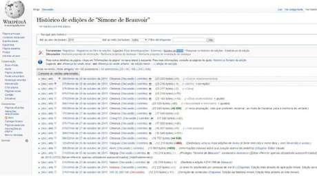 Histórico mostra alterações na página da escritora na Wikipedia