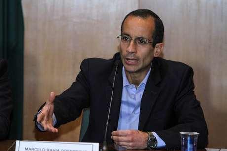 Marcelo Odebrecht, presidente da holding que administra a empreiteira Odebrecht, durante depoimento na CPI da Petrobras em Curitiba (PR)