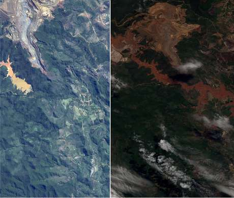 Imagens mostram como ficou a região após o rompimento de duas barragens