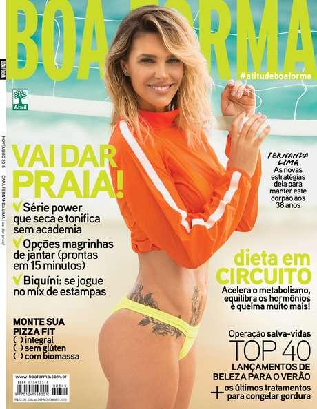 Fernanda Lima é capa da revista Boa Forma deste mês