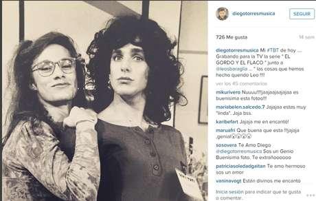 Diego Torres comparte un recuerdo en la grabación de la serie de televisión 'El Gordo y el Flaco'.