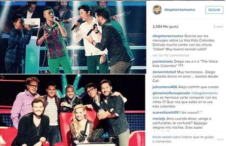 Aquí Diego Torres comparte con sus fans un collage de La Voz  Kids Colombia.