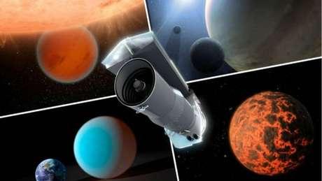 Ilustração do telescópio espacial Spitzer, que usa luz infravermelha para tentar desvendar os padrões de luz da misteriosa estrela