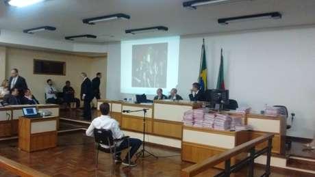 Elissandro Spohr, ex-sócio e um dos réus no caso da boate Kiss, prestou depoimento no Fórum de Santa Maria (RS)
