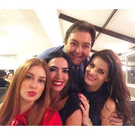 Marina Ruy Barbosa, Isabeli Fontana, Iara Jereissati e o apresentador Faustão