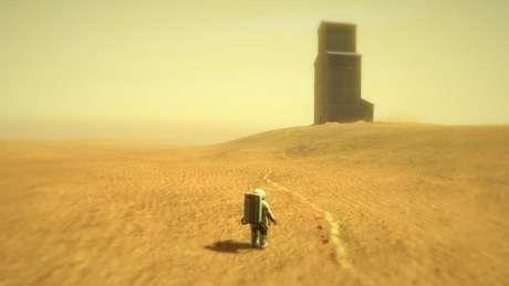No game, você assume o papel de um astronauta e precisa explorar um planeta aparentemente sem vida