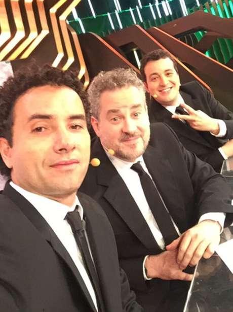Marco Luque, Dan Stulbach e Rafael Cortez nos bastidores do último 'CQC'