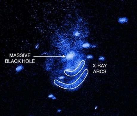 """Na indicação em inglês, o enorme buraco negro, a mancha circular ao centro, e os dois """"arrotos"""": as ondas de raio-X em forma de arco"""