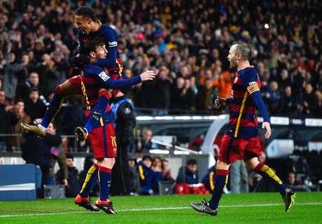 Messi, duas vezes, e Neymar balançaram as redes do Espanyol