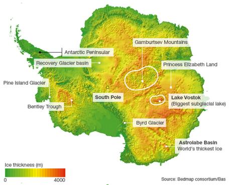 A Terra da Princesa Elizabeth (Princess Elizabeth Land, no mapa em inglês) é uma das áreas menos exploradas da Antártida, e novo foco dos times internacionais de cientistas