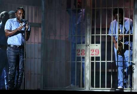 Kendrick Lamar se presenta en la 58ª ceremonia de los Grammy el lunes 15 de febrero de 2016 en Los Angeles.