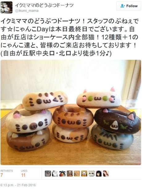 Ikumi Mama, uma padaria conhecida por produzir doces com formatos de animais, lançou uma série especial de donuts em formato de gato