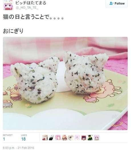Alguns comemoram o Dia do Gato fazendo os bolinhos de arroz japonês com o tema