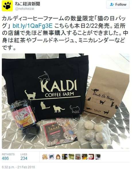 A Fazenda de Café Kaldi, que vende café e outros alimentos importados, lançou uma bolsa especial para o Dia do Gato contendo chá, bolachas e um calendário