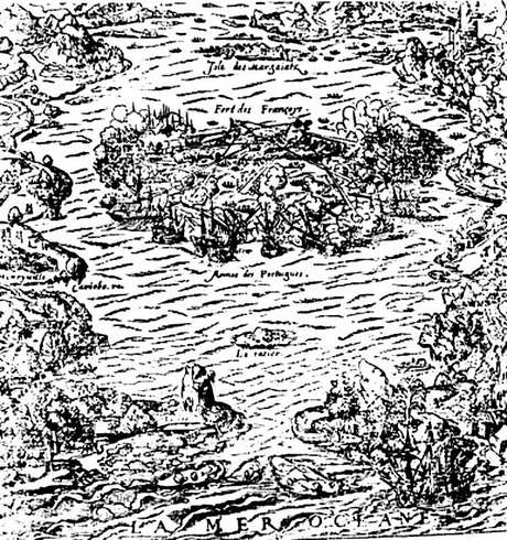 A ilha de Villegagnon na baía Henriquina