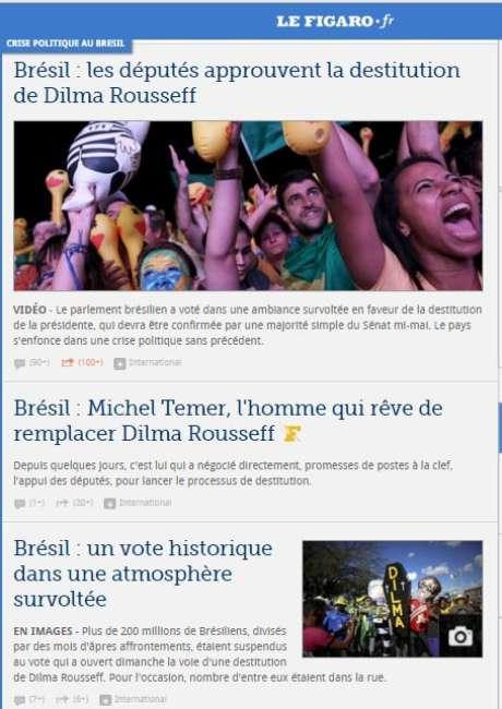 O francês Le Figaro destaca a aprovação do impeachment pela Câmara