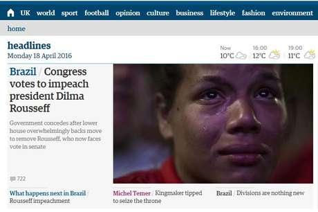 O britânico The Guardian destina quatro textos em suas manchetes, sendo um a respeito do que virá depois do impeachment no Brasil