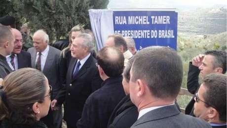 Temer esteve no país em 2011, quando rua com seu nome (grafado incorretamente) foi inaugurada