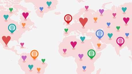 Dezenas de milhões de pessoas no mundo todo estão em sites e aplicativos de encontros (Foto: BBC)