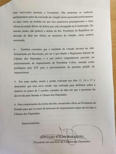 Nota publicada pelo presidente interino da Câmara, deputado Waldir Maranhão (PP-MA)