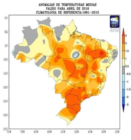 O mapa do Inmet mostra o aumento de temperatura em abril de 2016