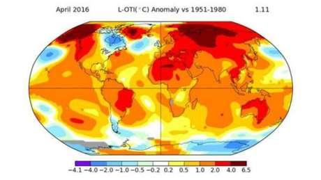 As regiões em vermelho mostram os locais onde a temperatura subiu mais no mês passado