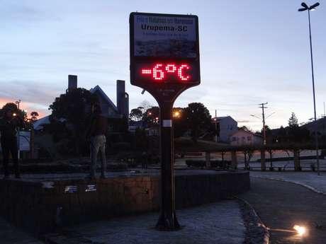 Sensação térmica chegou a -29ºC em Urupema, na serra catarinense