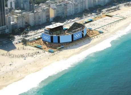 Arena na praia de Copacabana será palco dos jogos de vôlei de praia