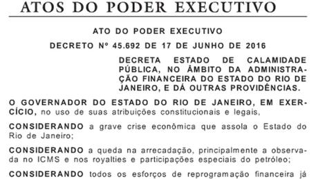 Decreto autoriza medidas excepcionais para garantir a realização dos Jogos do Rio