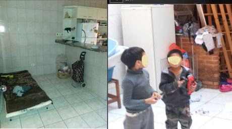 Cama improvisada na cozinha da oficina; filhos dos trabalhadores também moravam no local