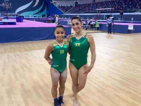 Flávia Saraiva (à esquerda) faturou dois ouros em Portugal. Ao lado, Daniele Hypolito (Foto: Divulgação)