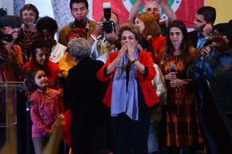 Ato Mulheres com Dilma em Defesa da Democracia na Casa de Portugal, avenida da Liberdade, região central da capital paulista