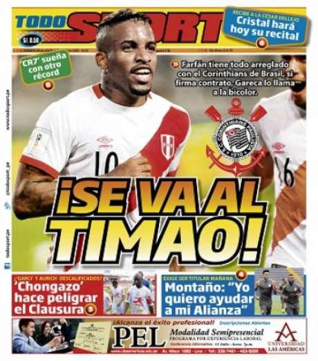 Farfán tem acerto com o Corinthians, segundo jornal peruano (Foto: Reprodução)