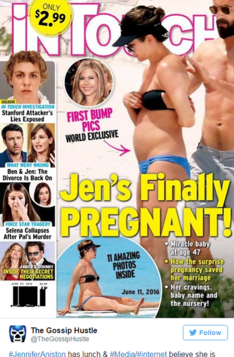 Capa de revista especula sobre suposta gravidez de Jennifer Aniston