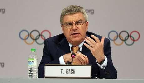 Thomas Bach, presidente do COI, durante entrevista coletiva (Foto: Divulgação/COI)