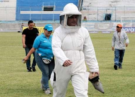 Abelhas tomaram conta de jogo válido pelo Equatoriano (Foto: Twitter da Federação Equatoriana)